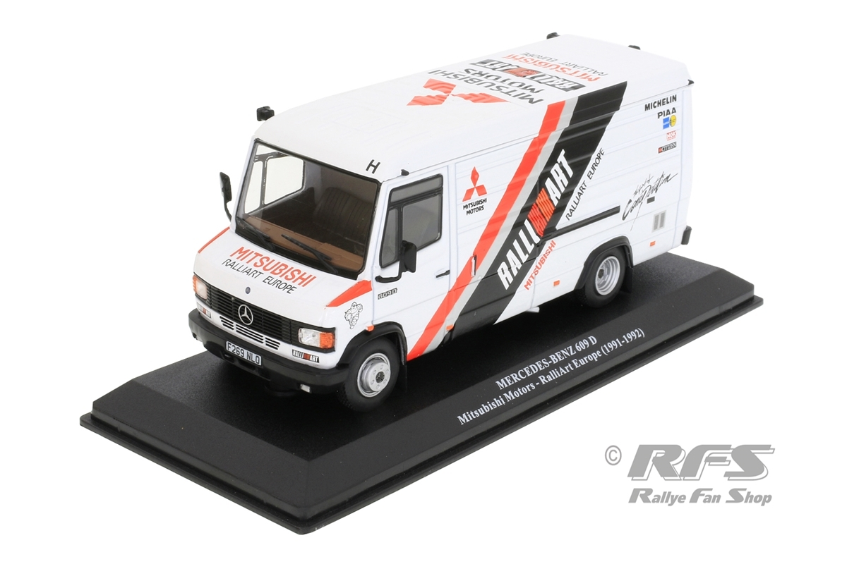 Mercedes Benz 609 D Service 1991-1992 Mitsubishi Ralliart Europe Rallye Team - Salonen 1:43 - Altaya IXO - AL 1991-ST-030