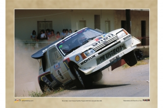 Peugeot 205 T16 - Acropolis Rally 1986<br />Bruno Saby / Jean-Francois Fauchille<br />Poster  -  70 x 50 cm