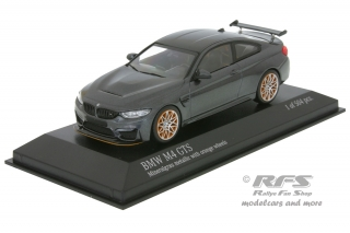 BMW M4 GTS<br />2016 - grey  metallic with orange wheels<br />1:43 - Minichamps 410025228