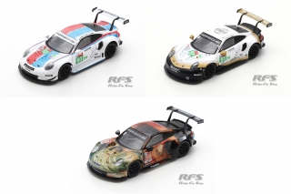 3 model Set - Porsche 991 911 RSR GTE<br />24h Le Mans 2019  -  # 91, 93, 56 Team Project 1<br />1:64 - Spark YS008 - Y140/141/142