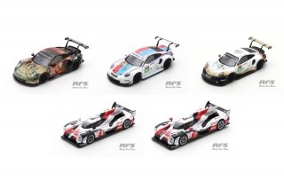 5 model Set - Toyota TS050 Porsche 911 RSR GTE<br />24h Le Mans 2019  -  # 7, 8, 91, 93, 56 Team Project 1<br />1:64 - Spark YS009 - Y138/139/140/141/142