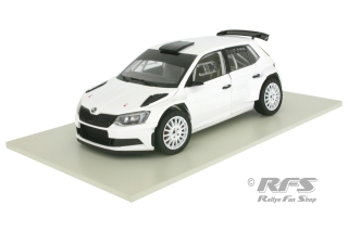 Skoda Fabia III R5 - white<br />Plain Body Rally Version 2015<br />1:18 - ABREX - ABX 118-605E